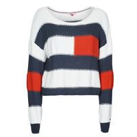 Kleidung Damen Pullover Tommy Jeans TJW  RWB STRIPE SWEATER Blau / Weiss / Rot