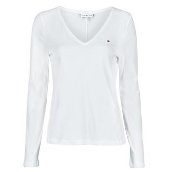 Kleidung Damen Langarmshirts Tommy Hilfiger REGULAR CLASSIC V-NK TOP LS Weiss