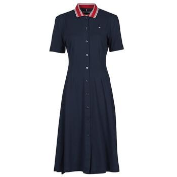 Kleidung Damen Kurze Kleider Tommy Hilfiger PIQUE F&F MIDI POLO DRESS SS Marine