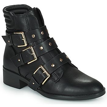 Schuhe Damen Boots Only BRIGHT 15 PU BIKER BOOT Schwarz