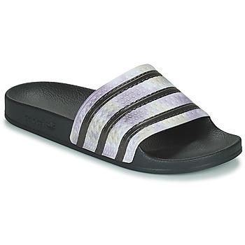 Schuhe Damen Pantoletten adidas Originals ADILETTE Schwarz / Silbern