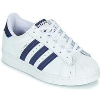 Schuhe Kinder Sneaker Low adidas Originals SUPERSTAR C Weiss / Blau