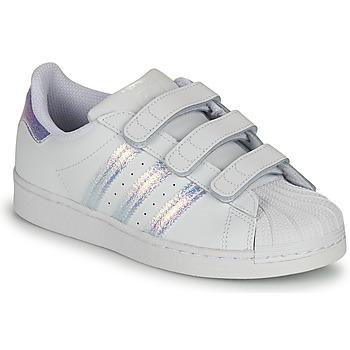 Schuhe Kinder Sneaker Low adidas Originals SUPERSTAR CF C Weiss / Silbern