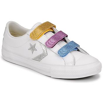Schuhe Mädchen Sneaker Low Converse STAR PLAYER 3V GLITTER TEXTILE OX Weiss / Multicolor