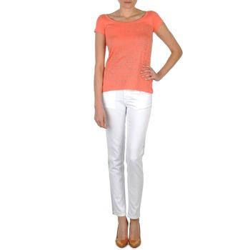 Kleidung Damen Slim Fit Jeans Calvin Klein Jeans JEAN BLANC BORDURE ARGENTEE Weiss