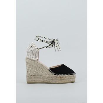Schuhe Damen Leinen-Pantoletten mit gefloch Macarena  Schwarz