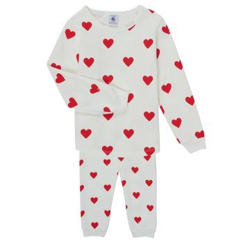 Kleidung Mädchen Pyjamas/ Nachthemden Petit Bateau CASSANDRE Weiss / Rot