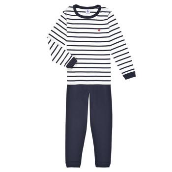 Kleidung Jungen Pyjamas/ Nachthemden Petit Bateau TECHI Weiss / Blau