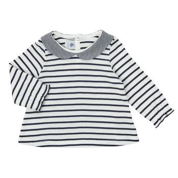 Kleidung Mädchen Langarmshirts Petit Bateau HOLINU Weiss / Blau