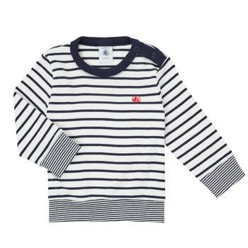 Kleidung Jungen Langarmshirts Petit Bateau IGRAE Weiss / Blau