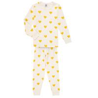 Kleidung Mädchen Pyjamas/ Nachthemden Petit Bateau LERINU Weiss / Gelb