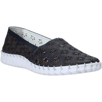 Schuhe Damen Leinen-Pantoletten mit gefloch Melluso HK55020 Blau