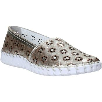 Schuhe Damen Leinen-Pantoletten mit gefloch Melluso HK55020V Gold
