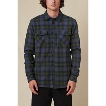 Kleidung Herren Langärmelige Hemden Globe Chemise  Wanderer Shacket bleu/vert