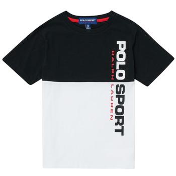 Kleidung Jungen T-Shirts Polo Ralph Lauren KAMILA Weiss / Schwarz