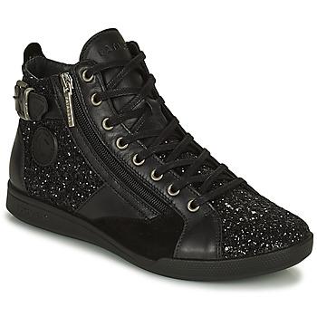 Schuhe Damen Sneaker High Pataugas PALME Schwarz / Glitterfarbe