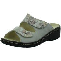 Schuhe Damen Pantoffel Longo Pantoletten Bequem-Pantolette,beige/beige 1019280 grau