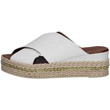 Schuhe Damen Leinen-Pantoletten mit gefloch Bueno Shoes Q5907 WEISS