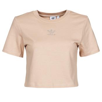 Kleidung Damen T-Shirts adidas Originals CROPPED  TEE Beige