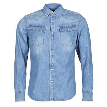 Kleidung Herren Langärmelige Hemden G-Star Raw 3301 SLIM SHIRT LS Blau