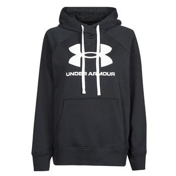 Kleidung Damen Sweatshirts Under Armour RIVAL FLEECE LOGO HOODIE Schwarz / Weiss