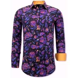 Kleidung Herren Langärmelige Hemden Tony Backer Luxe Satijn Overhemd Met Print Navy Orange Blauw, Oranje