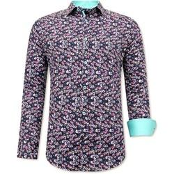 Kleidung Herren Langärmelige Hemden Tony Backer Luxe Satijn Heren Overhemd Bloe Print Zwart Turquoise Zwart, Turquoise