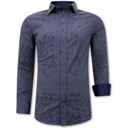 Kleidung Herren Langärmelige Hemden Tony Backer Print Overhemd Heren Slim W Blau
