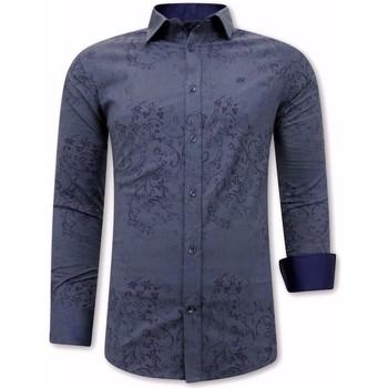 Kleidung Herren Langärmelige Hemden Tony Backer Digital Print Blau