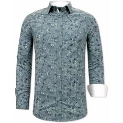 Kleidung Herren Langärmelige Hemden Tony Backer Overhemd Met Print Heren Slim  Groen Grün