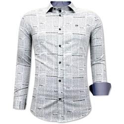 Kleidung Herren Langärmelige Hemden Tony Backer Zeitungsartikel Hemd Weiß, Grau