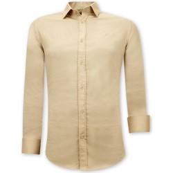 Kleidung Herren Langärmelige Hemden Tony Backer Klassische Slim Beige