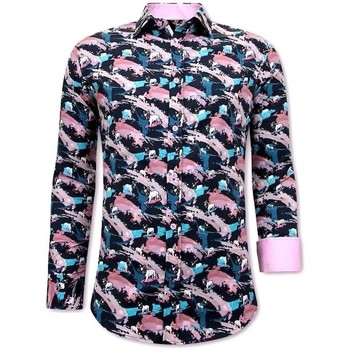 Kleidung Herren Langärmelige Hemden Tony Backer Luxe Satijn Overhemd Heren Navy Rooze Blauw, Roze