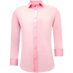 Kleidung Herren Langärmelige Hemden Tony Backer Luxe Satijn Hemd Voor Mannen Slim  Roze Rosa