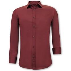 Kleidung Herren Langärmelige Hemden Tony Backer Klassische Slim Bordeaux