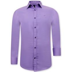 Kleidung Herren Langärmelige Hemden Tony Backer Luxe Mannen Satijn Overhemd Slim  Paars Violett