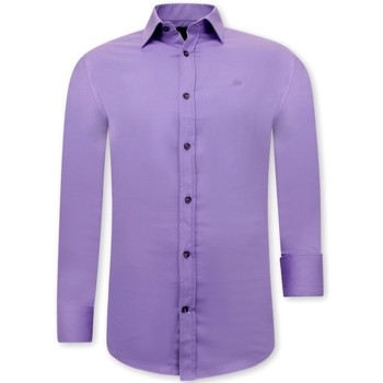 Kleidung Herren Langärmelige Hemden Tony Backer Klassische Slim Lila Violett