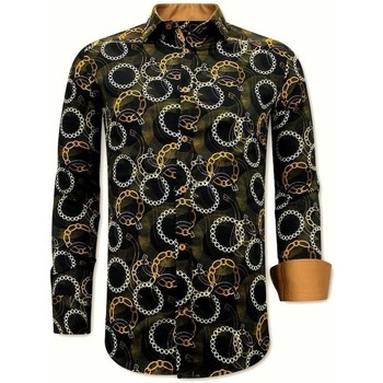 Kleidung Herren Langärmelige Hemden Tony Backer Paisley Hemd Schwarz, Braun