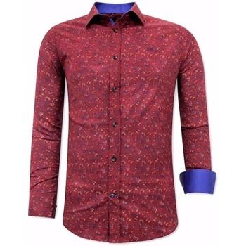 Kleidung Herren Langärmelige Hemden Tony Backer Blouse Met Print Heren Slim Bordeaux