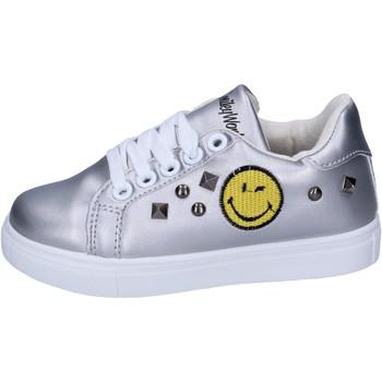 Schuhe Mädchen Sneaker Low Smiley BJ987 Silber