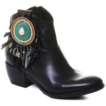 Schuhe Damen Low Boots Rebecca White T0605  Rebecca White  D??msk?? ?ern?? ko?en?? kotn??kov?? boty s bloko