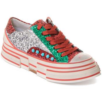 Schuhe Damen Sneaker Rebecca White T2208  Rebecca White  D??msk?? st???brn??/?erven??/zelen?? t?pytiv?? t