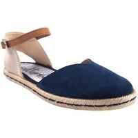 Schuhe Damen Leinen-Pantoletten mit gefloch Calzamur Damenschuh  10147 blau Blau