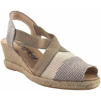 Schuhe Damen Leinen-Pantoletten mit gefloch Calzamur Lady   10312 beig Weiss