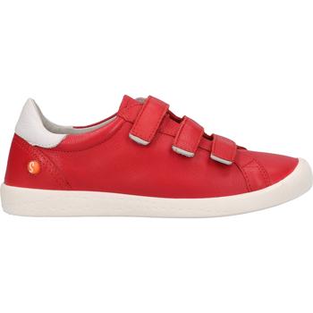 Schuhe Damen Slip on Softinos Halbschuhe Rot/Weiß