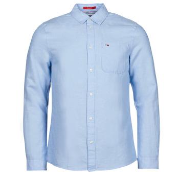 Kleidung Herren Langärmelige Hemden Tommy Jeans TJM LINEN BLEND SHIRT Blau