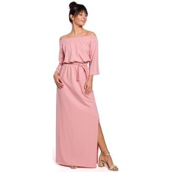 Kleidung Damen Maxikleider Be B146 Schulterfreies Maxikleid - rosa