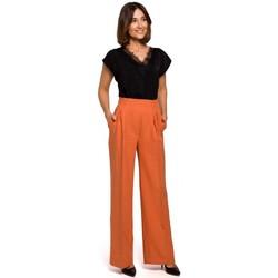 Kleidung Damen Fließende Hosen/ Haremshosen Style S203 Palazzohose mit Gummizug in der Taille - orange