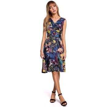 Kleidung Damen Kurze Kleider Moe M499 Bedrucktes Kleid mit Schlaghose - Modell 1
