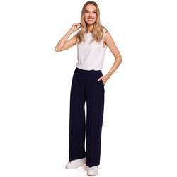 Kleidung Damen Fließende Hosen/ Haremshosen Moe M570 Hose mit geknittertem Bein - navyblau